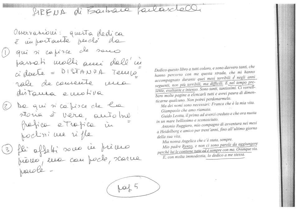 Le note a margine di Valentina Balzarotti al manoscritto di Sirena